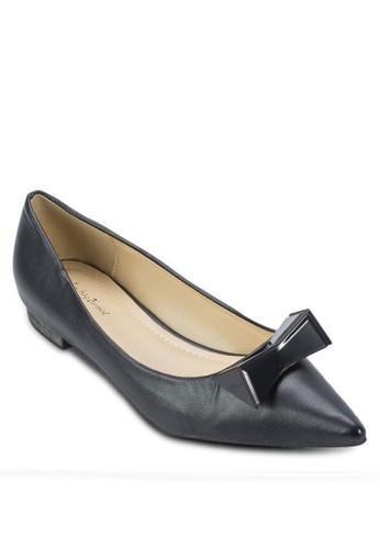金屬zalora 折扣碼蝴蝶結尖頭平底鞋, 女鞋, 芭蕾平底鞋