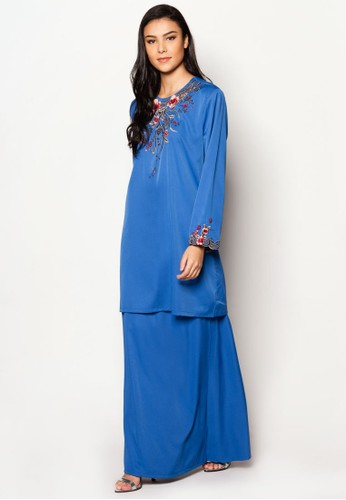 Plus Size EmbroideRed Kurung Moden from Jasmina Collection in Blue