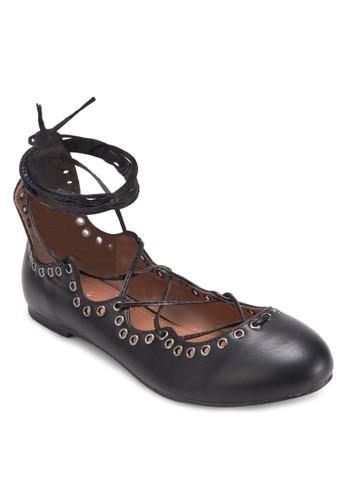 Maybellzalora 心得e 金屬孔繫帶平底鞋, 女鞋, 鞋