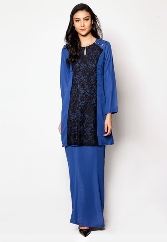 Chiffon With Lace Kurung Moden from Jasmina Collection in Blue