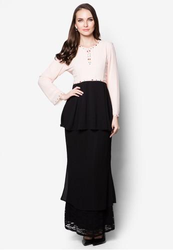 Colour Block Peplum Baju Kurung Modern with Lace Skirt Hem from Era Maya in Black and Pink