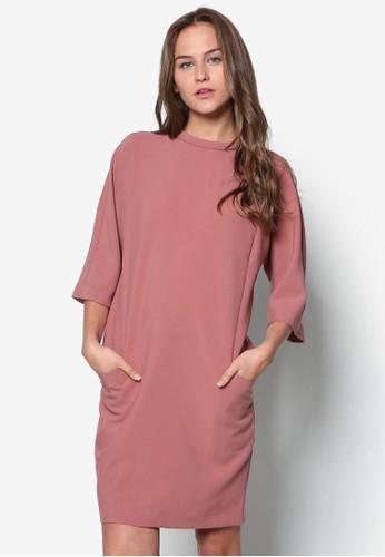 Hallton 寬zalora taiwan 時尚購物網鬆七分袖連身裙, 服飾, 短洋裝