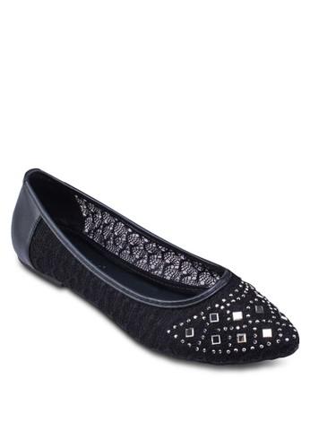 蕾絲zalora退貨鉚釘尖頭娃娃鞋, 女鞋, 鞋