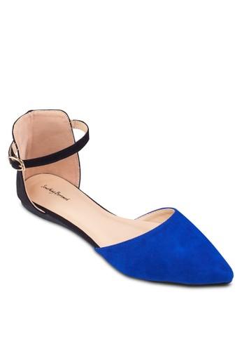 雙色側空繞踝平底鞋, 女zalora 台灣門市鞋, 鞋