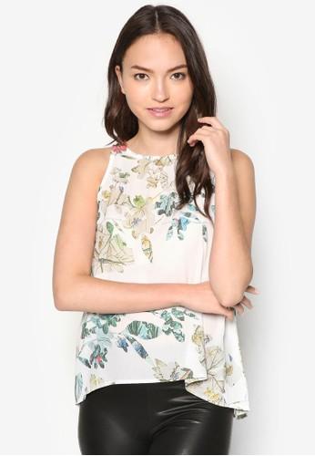 繞脖花卉zalora 包包 ptt印花上衣, 服飾, 服飾