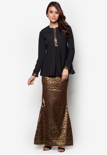 Imperial Kurung from FLEUR in Gold and Brown