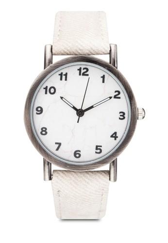 數字圓框丹寧手錶, 錶類, 其它錶zalora 評價帶