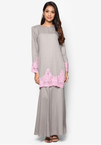 Baju Kurung Modern from Gene Martino in Grey