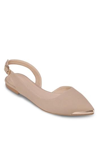 金屬尖頭繞踝平底鞋zalora 衣服尺寸, 女鞋, 芭蕾平底鞋