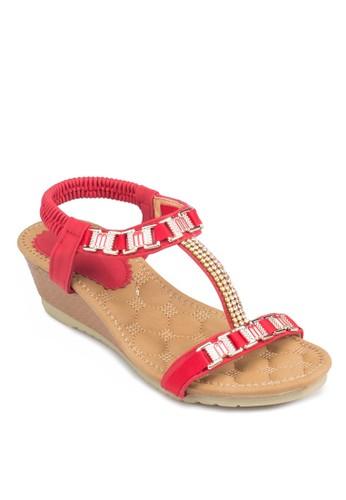金屬配件T帶楔形涼zalora開箱鞋, 女鞋, 鞋