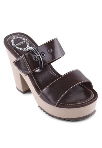扣環雙zalora 手錶 評價帶粗跟厚底涼鞋, 女鞋, 厚底鞋
