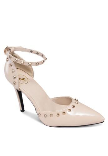 鉚釘繞踝尖頭高跟鞋,zalora鞋 女鞋, 鞋