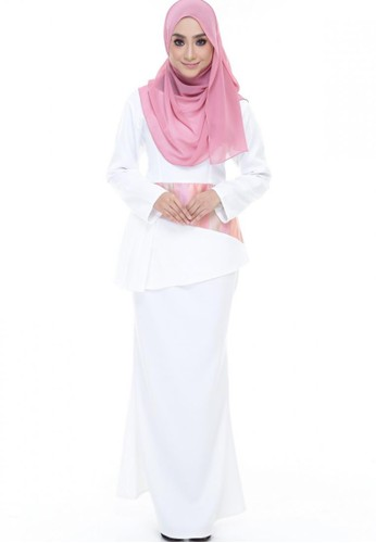 Grace Peplum Kurung from Farha by JZ in White and Pink