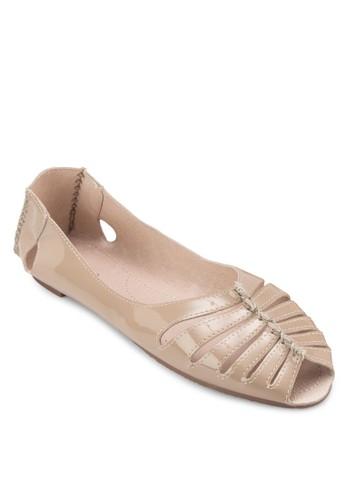 鏤空露趾zalora時尚購物網的koumi koumi漆皮平底鞋, 女鞋, 鞋