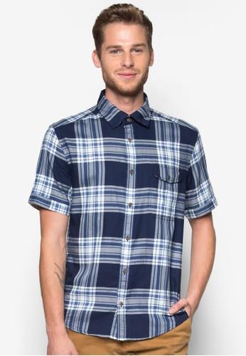 格紋短袖襯衫, 服飾, 短esprit牛仔外套袖襯衫