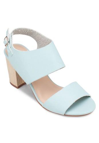 一字帶繞踝粗跟涼鞋, zalora 台灣女鞋, 中跟
