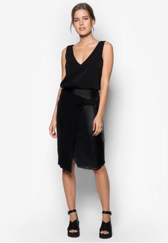 Premium V 領仿皮拼接腰帶洋裝, 服飾zalora鞋, 洋裝