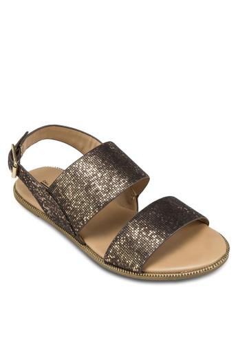 Zebzalora 包包評價aina 閃飾雙帶平底涼鞋, 女鞋, 鞋