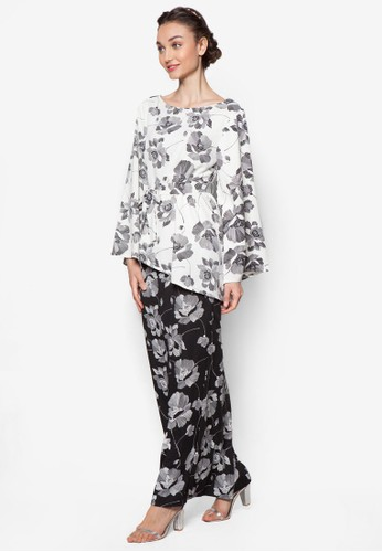 Belted Printed Kurung from Lubna in Black and White