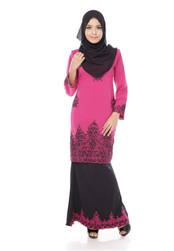 Maribeli Butik Jasmine Kurung – Purple (Dark Raspberry Black) from Maribeli Butik in Black and Purple