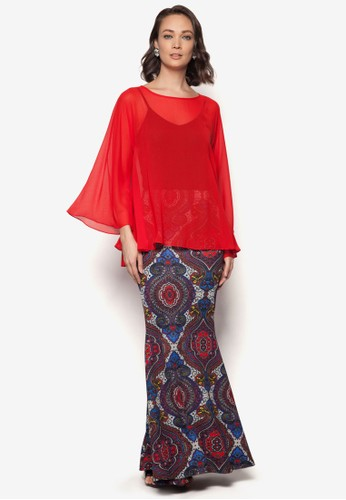 Midi Kedah Printed Kurung from Zuco Fashion in Red