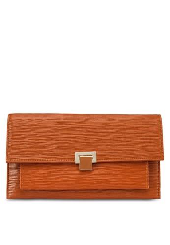 PUzalora時尚購物網評價 暗紋翻蓋手拿包, 包, 飾品配件