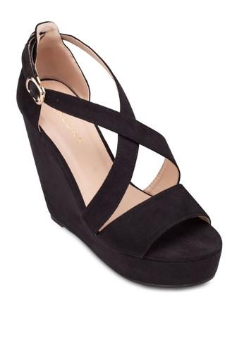 交叉繞踝厚底楔形zalora時尚購物網評價鞋, 女鞋, 鞋
