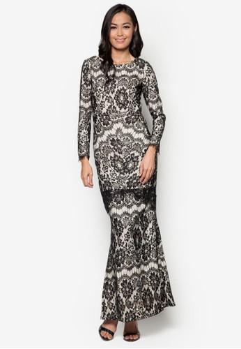 Baju Kurung Lace Overlay - Vercato Dulcie from VERCATO in Black