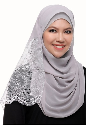 Anisa Silk Lace Shawl from Secretcode in Grey