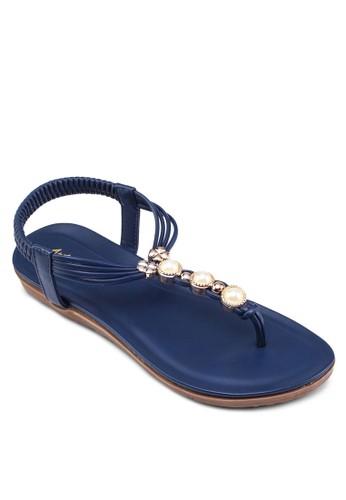 zalora 台灣珍珠T 字帶涼鞋, 女鞋, 鞋