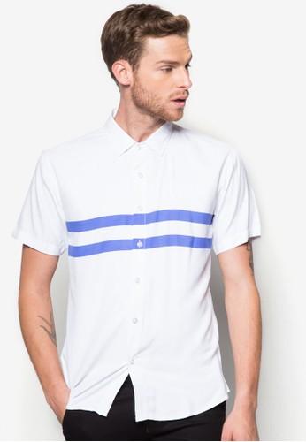 雙條紋短袖襯衫, 服飾,zalora 鞋評價 印花襯衫