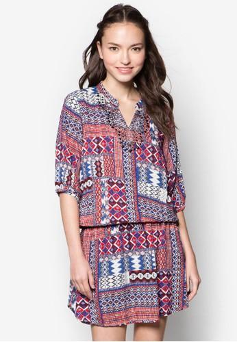 抽象印花腰飾連身裙zalora 包包評價, 服飾, 洋裝