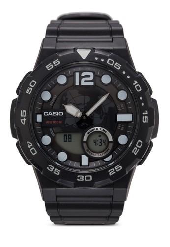 AEQ-100W-1AVDF 潮zalora 包包 ptt流雙顯圓錶, 錶類, 其它錶帶