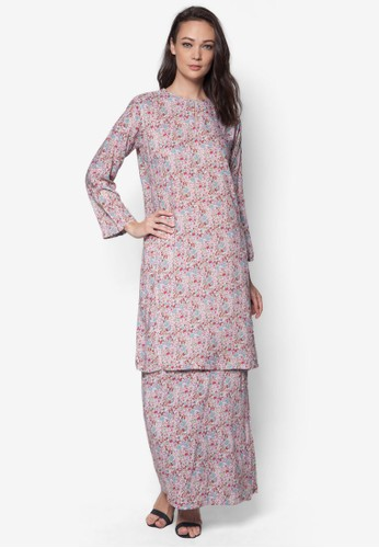 Rayon Baju Kurung from Jennifer Creations in Pink and Multi