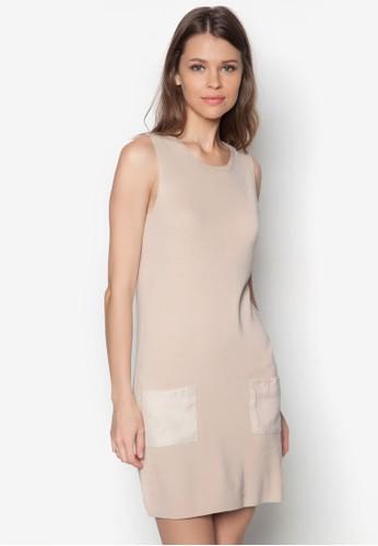 仿麂皮口袋無袖zalora鞋子評價連身裙, 服飾, 洋裝