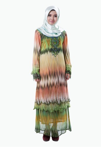 Rasa Sayang Abstract Embellished Baju Kurung – Peach/Green from Rasa Sayang in Beige