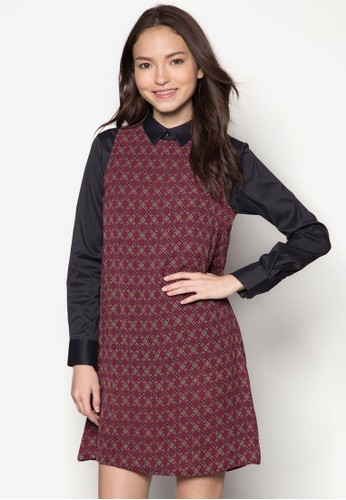 Farrah 印花拼接長袖連身裙, 服飾,zalora鞋子評價 服飾
