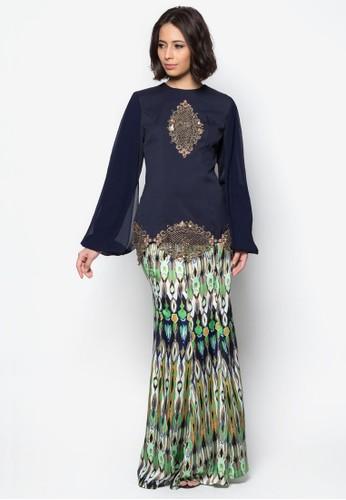 Jasila Baju Kurung from JLuxe in Blue and Multi