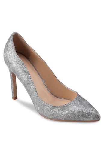 金屬zalora 順豐感仿皮尖頭高跟鞋, 女鞋, 厚底高跟鞋