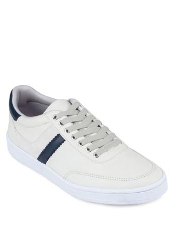 撞色仿皮zalora 鞋評價繫帶運動鞋, 鞋, 休閒鞋