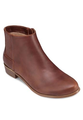 亮面金飾低跟踝靴, zalora鞋子評價女鞋, 靴子
