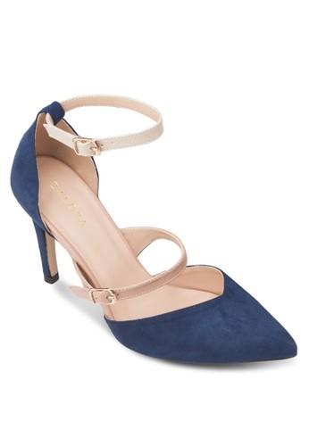 多帶仿麂皮尖頭高跟鞋,zalora 鞋評價 女鞋, 厚底高跟鞋