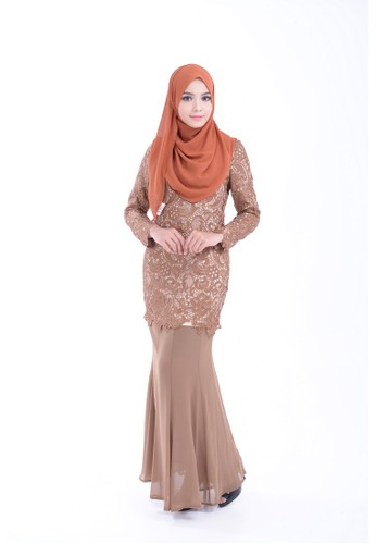 Maribeli Butik Malika Kurung – Copper Brown from Maribeli Butik in Brown