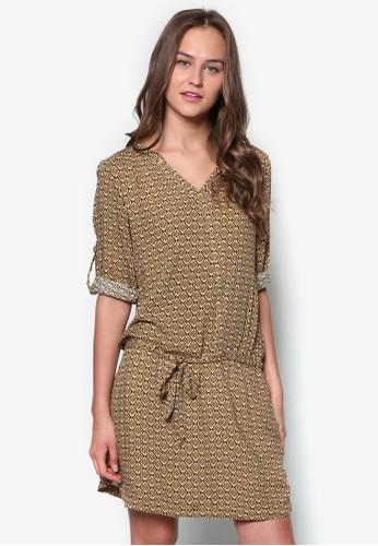 花zalora 包包 ptt磚印花長袖連身裙, 服飾, 服飾