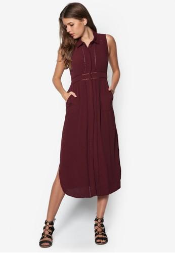 Eloszalora taiwan 時尚購物網鞋子ie 鉤針襯衫式洋裝, 服飾, 洋裝