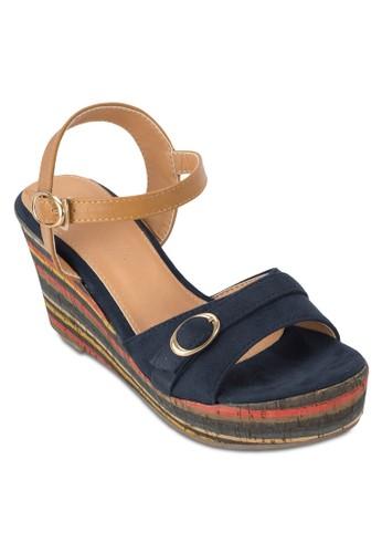 多色條紋楔形涼鞋zalora退貨, 女鞋, 楔形涼鞋