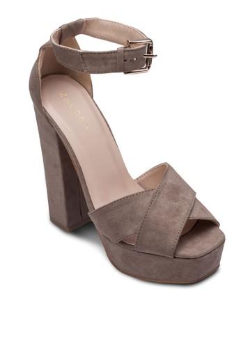 扣環踝帶厚zalora 鞋評價底粗跟鞋, 女鞋, 鞋