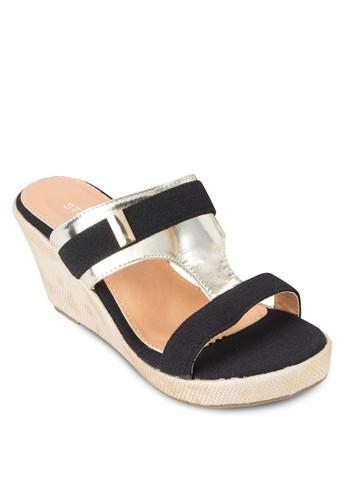 雙色寬帶楔形鞋, 女鞋, 楔形涼zalora開箱鞋
