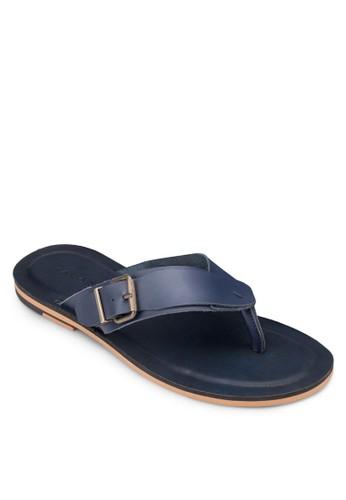 扣環皮革夾腳拖鞋, 鞋, zalora 內衣拖鞋