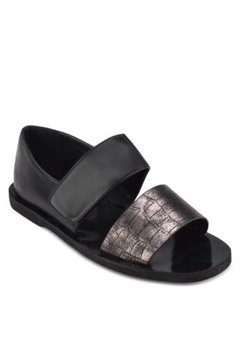 蛇紋寬帶繞涼zalora開箱鞋, 女鞋, 鞋